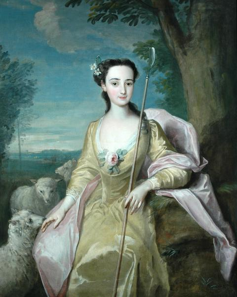 Portrait of Anne Fairfax in the Guise of a Shepherdess by Philippe Mercier, ca 1739-51, Fairfax House