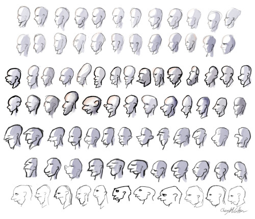 Various cartooney head sketches.