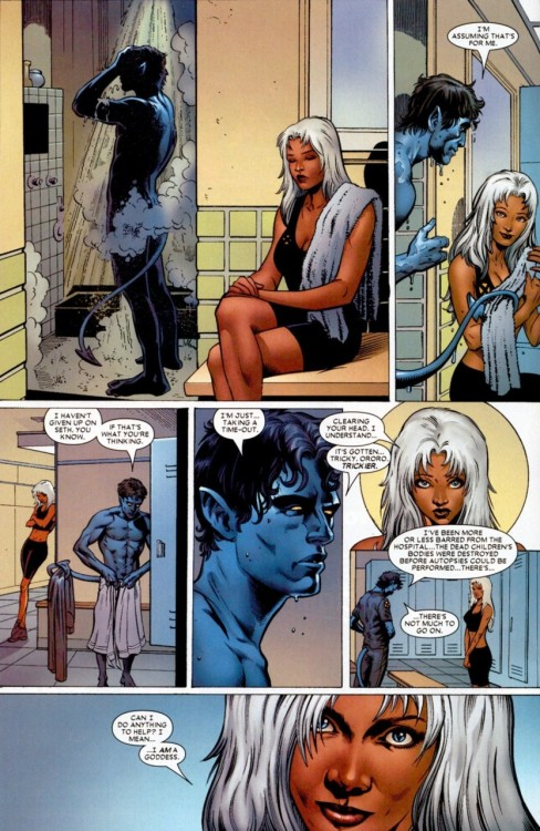 Nightcrawler Vol 3 #3 pg06  Storm and I are obviously not the same person. What's that, Kurt?  Personal space?  I've never heard of it.  They must teach you all kinds of funny things in the circus.  Here in America we always bathe with other people.  Yes, of course I'm not lying.  Would you like some help washing your tail?