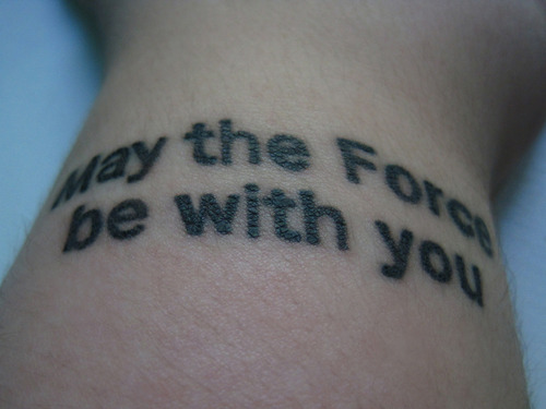 My Star Wars tattoo on the top of my wrist. This was done on May the 4th (International Star Wars Day) of this year @ True Love Tattoo in London, Ontario by Eugene.