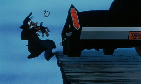 Fagin breaking Sykes' car, from Disney's Oliver and Company