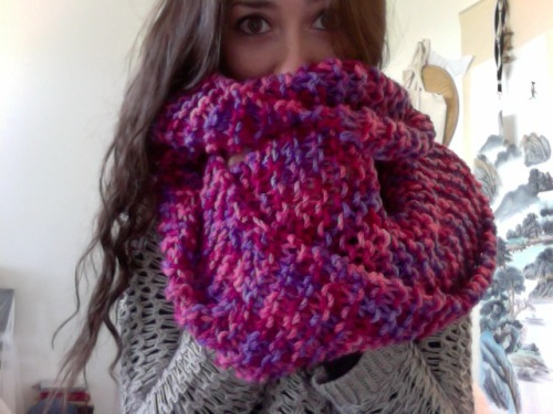 I Knitted myself a never ending scarf :)