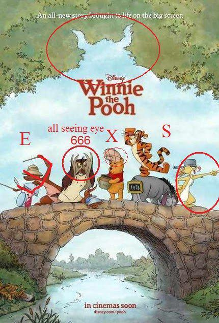Winnie The Pooh: Sex subliminal symbolism, 666, all seeing eye, devil horns, as above so below, bricks.
