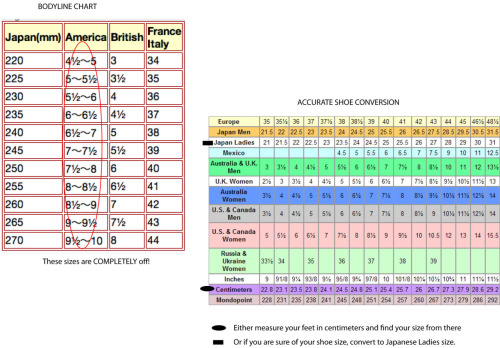 Got this off one of the egl comms on lj. The chart on the left is from Bodyline and totally off. The chart on the right shows accurate conversions for mens/womens sizes for Europe, Japan, Mexico, Aus/UK, US/Canada, Russia/Ukraine… and foot length in cm and mondopoint (whatever that is).  Click to embiggen!