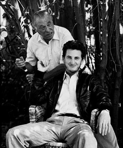 awesomepeoplehangingouttogether:  Charles Bukowski and Sean Penn  Excellent facial expression..