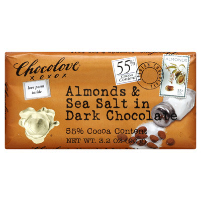 Chocolove Almonds & Sea Salt in Dark Chocolate candy bar. I found these Chocolove bars at a nearby French cafe, but then discovered that they have them for cheaper at Whole Foods, as well as many other places. They have lots of flavors — coffee crunch in dark chocolate and cherries & almonds in dark chocolate are also good — but the almonds & sea salt is my favorite. I'm a dark chocolate gal, and the sea salt adds a great kick. Around $2.69/bar at Whole Foods. You can also buy them in cases of 6 or 12 online.