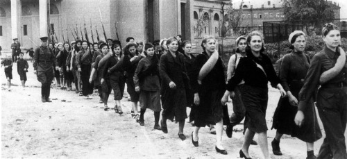 absinthemakeyouawhore:  Soviet women volunteers sent to the front in the summer of 1941.