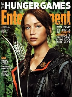 Jenifer Lawrence on the cover of Entertainment Weekly in what appears to be one of her many outfits for The Hunger Games, set to premier on March 23, 2012.