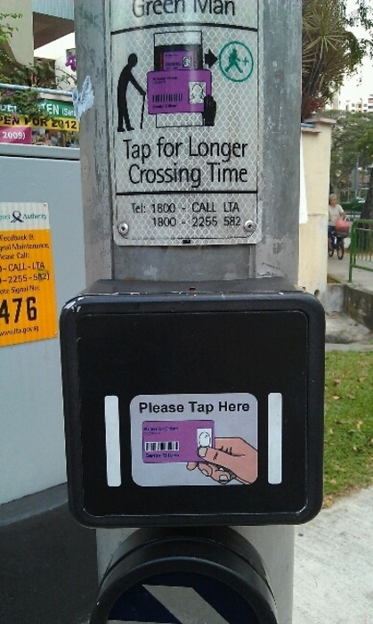 thezagcollective:  Tap your pensioner card at a cross-walk for more crossing time. Great idea Singapore.