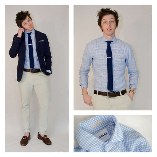 everlane:  Angelo of eyefivestyle sporting an awesome Wharf spread collar gingham shirt— this is how to do summer in style.