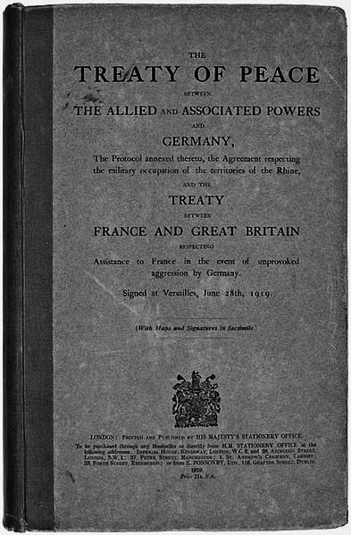 The Treaty of Versailles was one of the peace treaties at the end of World War I. It ended the state of war between Germany and the Allied Powers. It was signed on 28 June 1919, exactly five years after the assassination of Archduke Franz Ferdinand.