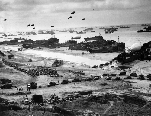Operation Overlord. Tank landing ships unloading supplies on Omaha Beach, building up for the breakout from Normandy.