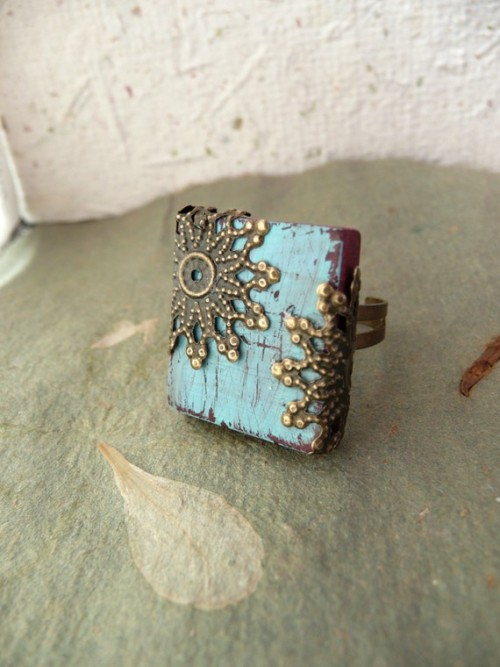 The Majestic. Etsy.   This Hand Crafted ring is created by Jocelyn Pryor of Flowerleaf and brings to mind all the older movie theaters that are still standing. From the old paint that has peeled away to the ornate decor inside the amphitheater.