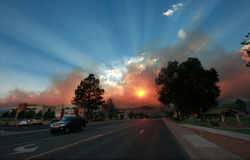 The sun shines through smoke from the Las Conchas wildfire near the Los Alamos National Laboratory., on June 29, 2011. Thousands of residents calmly fled the town that's home to the Los Alamos nuclear laboratory as the rapidly growing wildfire approached, sending up towering plumes of smoke, raining down ash, and charring the fringes of the sprawling lab's property. The blaze, which began Sunday, had already destroyed 30 structures south of Los Alamos and forced the closure of the lab. (Eric Draper/Reuters) (via Wildfire threatens nuclear facility - The Big Picture - Boston.com)