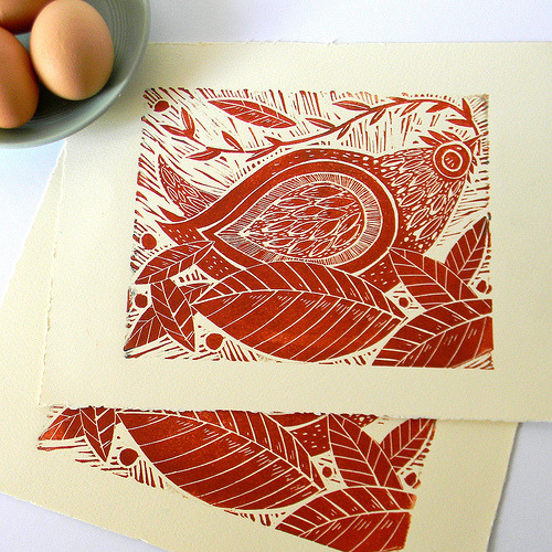 Red Chicken Lino Print (by Mangle Prints)