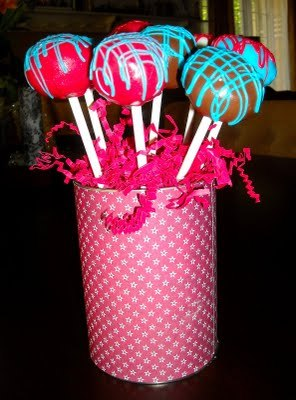 My new baking addiction, cake pops!   I may need an intervention, but not this week.