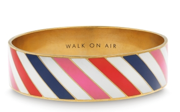 "wearing this airmail-inspired kate spade bangle today! the ""walk on air"" engraving is such a special little detail."