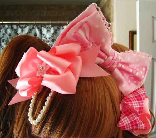 Pretty pink bows! ♥Angelic Pretty Pink Marchen headbow ♥Handmade pink satin bow w/ pearls & handmade pink plaid bow by Simply Adorable Hair-Ware