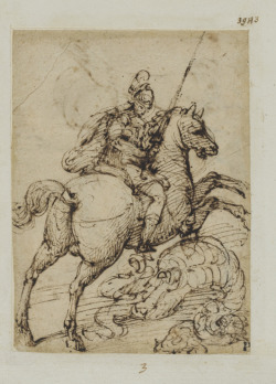 St. George Slaying the Dragon, unknown Giulio Campi (Italian c. 1502-1572) Drawing, pen and brown ink on laid paper,  18.4 x 13.5 cm Purchased as a gift of The Master Print and Drawing Society of Ontario Purchase Fund with the assistance of a grant from the Department of Canadian Heritage under the terms of the Cultural Property Export and Import Act, 2003