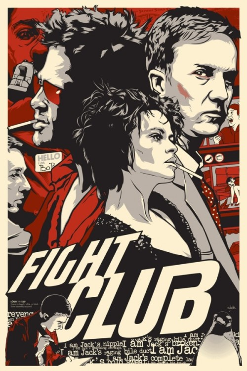 "FIGHT CLUB by Joshua Budich 24″x36″, 4-color print. Limited-Edition of 100. Part of Gallery 1988 ""Crazy 4 Cult"" Show. Prints are to be sold at the show, but any remaining prints will be sold off afterwards HERE."