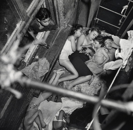 ratak-monodosico:  Children sleeping on the fire escape of a Lower East Side tenement. Photo by Weegee, 1941.