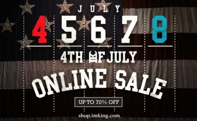 IMKING 4th of July Sale  From Monday July 4th until Friday July  8th midnight PST we are offering up to 70% off select items from our  ONLINE SHOP .  Make sure to take advantage of this sale and stock up on as much IMKING  gear as you can. Have a fun and safe weekend! Happy 4th of July! -IMKING Fam