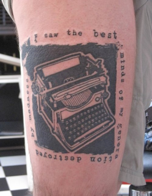 "fuckyeahtattoos:  This is my Alen Ginsberg tattoo. The words are the opening line to ""Howl"".  Done by Andy Blundell @ Extreme Needle London, UK. (He starts booking around Christmas, not bad for an apprentice!)"