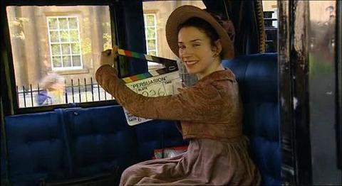 sally-hawkins:  On set of Persuasion, 2007.   that bitch is adorable!
