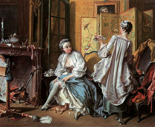 """La toilette,"" by Francois Boucher, 1742. In the Getty's exhibition, Paris: Life and Luxury."