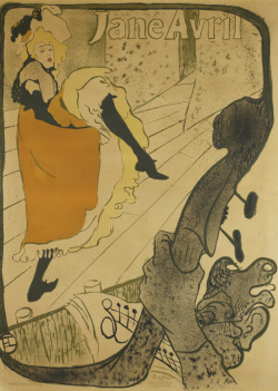 Jane Avril, 1893 Henri de Toulouse-Lautrec (French) Print, brush and spatter lithograph, printed in five colours, 129 x 94 cm Gift of the Donald R. Muller/Ross R. Scott Collection, 2010