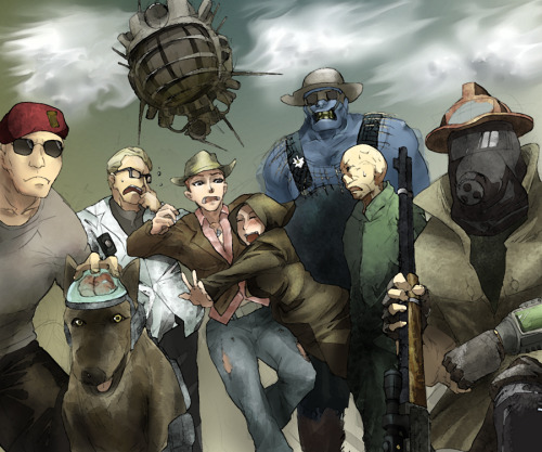 Fan art that I found. Love that the courier is wearing a mask.