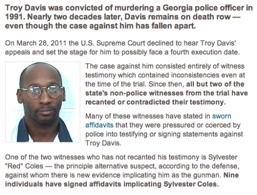 Troy Davis: Finality Over Fairness TAKE ACTION: Oppose the death penalty for Troy Davis