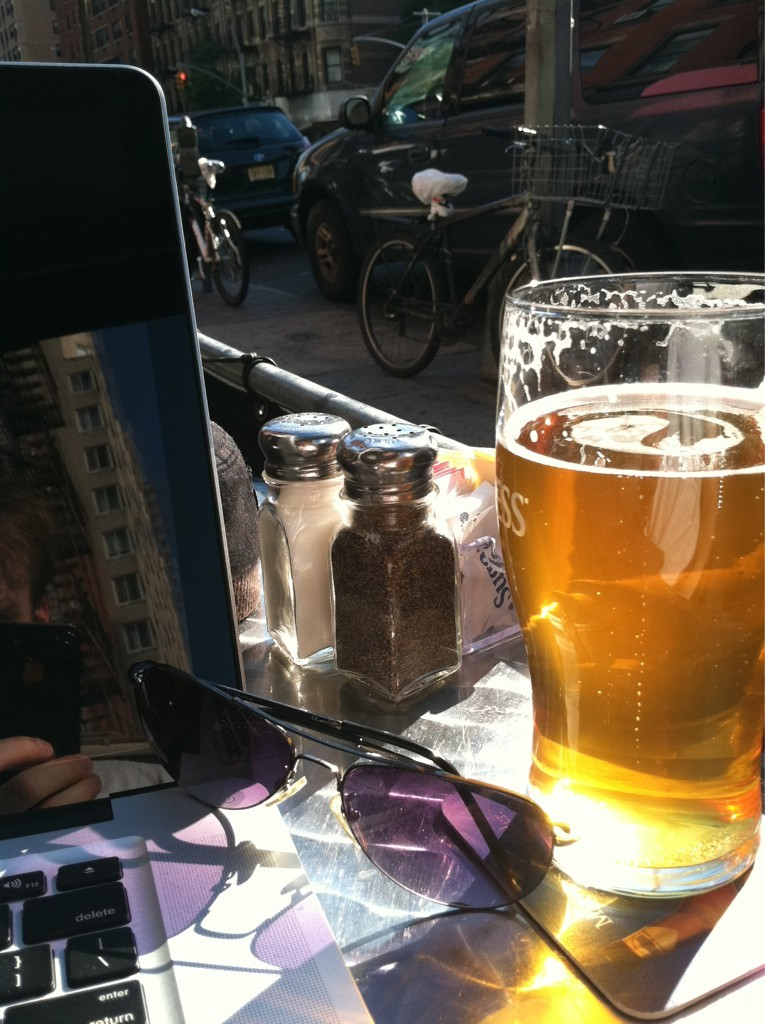 (via @thejoemoses: Outside on the UES with a Sam Adams summer ale furiously writing as the sun starts to set… Yeah I less than three NYC) joe moses on gossip girl.. that would be neat! *thinksaboutit*