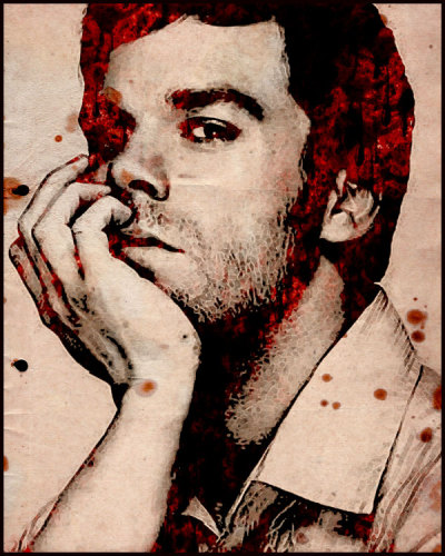 And for my real image of the day, here is everyone's favorite serial killer, painted…in bloooooooood!