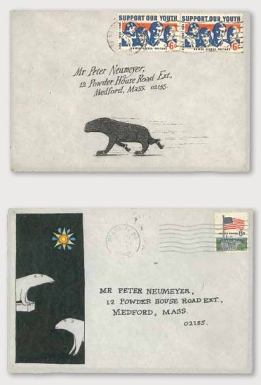 Two illustrated envelopes from Floating Worlds: The Letters of Edward Gorey and Peter F. Neumeyer