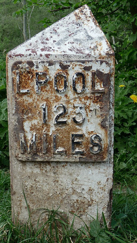 Liverpool mile marker along canal.