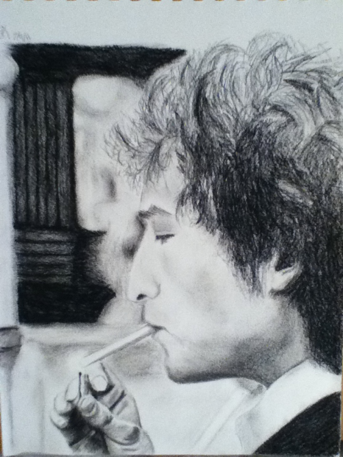 My Bob Dylan drawing i did in charcoal.