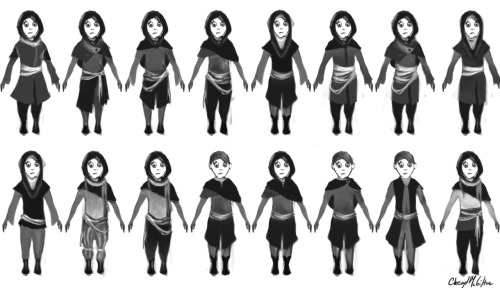 These are the outfit variations for the little brother character in my story. I'm not sure which one to choose, please send my a note on your opinion.