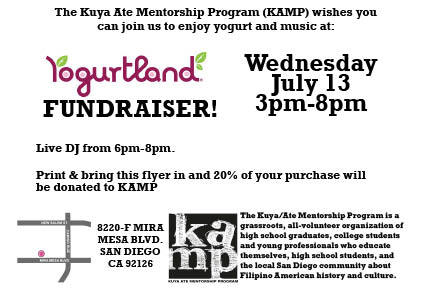 no-longer-solo:  COME  ON OUT FOR OUR KAMP FUNDRAISER AT YOGURTLAND! Just show this flyer on  Wed July 13 and they will donate proceeds of your purchases to the Kuya  Ate Mentorship program, which seeks to bring critical Fil Am Studies to  local high schools. =)