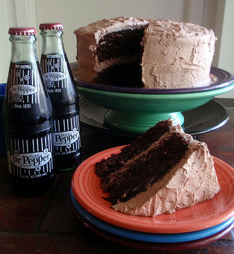 unfffood:  Dr. Pepper Chocolate Cake (by texascooking)
