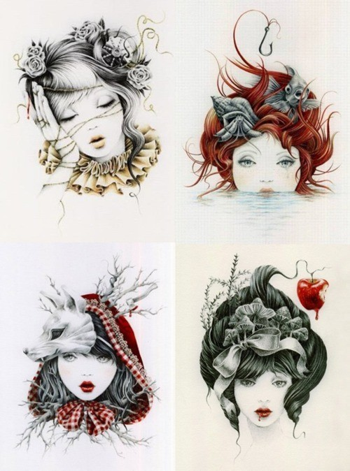 fairytaleproject:  nilahostclub:  Sleeping Beauty, The Little Mermaid, Red Riding Hood & Snow White by Courtney Brims.   I love how each tells a little about the story