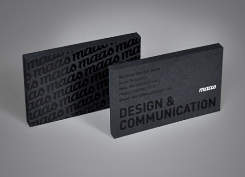 Mass Design Co business card  Love black on black printing.