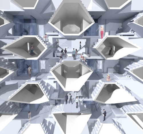 X-House by Kellen Qiaolun Huang The number of young bachelors is drastically raising because of the skyrocketing housing price. This project aims at that demographic with small single-person housing unit which also act as a catalyst for inhabitants to enlarge their circle of friends.
