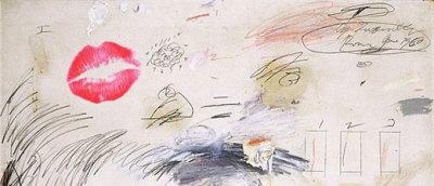 a cy twombly painting kissed by rindy sam (2007)(http://news.bbc.co.uk/2/hi/europe/6910377.stm)