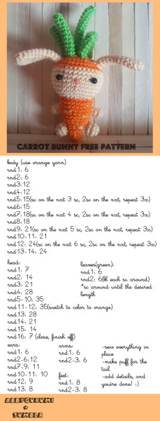 free pattern for everyone! :) i made a carrot bunny, a bunny disguised as a carrot lol :)