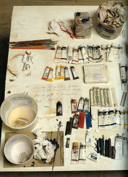 ruemag:  Cy Twombly's desk (Photo by David Seidner from Artists at Work).