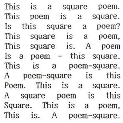 """square poem"" by bob cobbing"