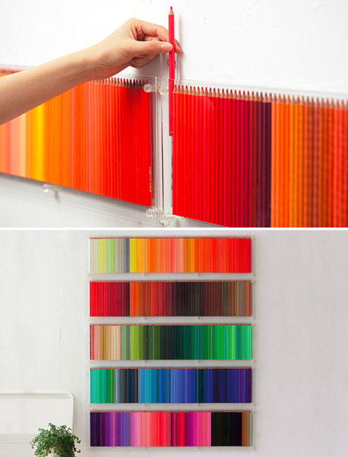 gaksdesigns:  500 Colored Pencils Hanging On the Wall (via)