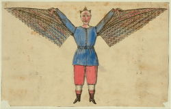 Title: [Humorous portrayal of a man who flies with wings attached to his tunic] Date Created/Published: [S.l. : s.n., between 1800 and 1830] Medium: 1 print : lithograph, hand-colored.