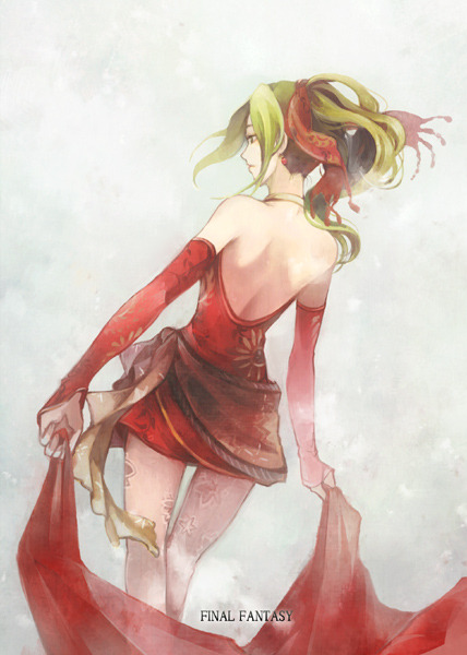 [Picture: Terra from FF6 standing with her back to the camera. She is holding a long piece of red clothing behind her.]